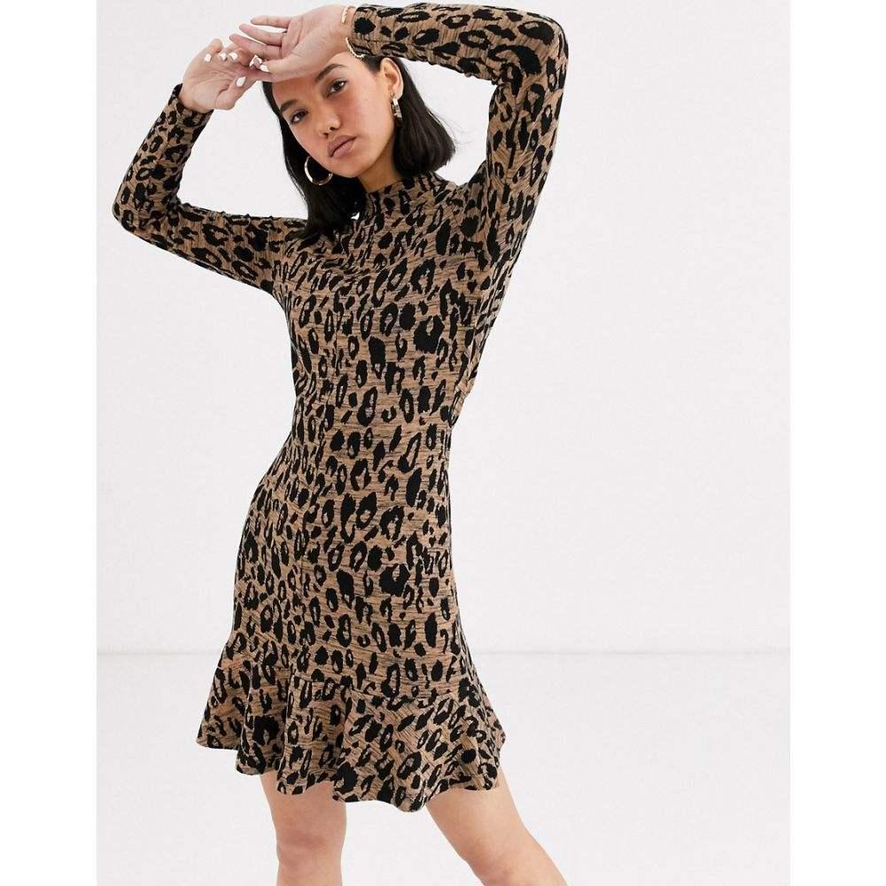 ホイッスルズ Whistles レディース ワンピース ミニ丈 ワンピース・ドレス【animal jersey flippy mini dress】Brwn/multi