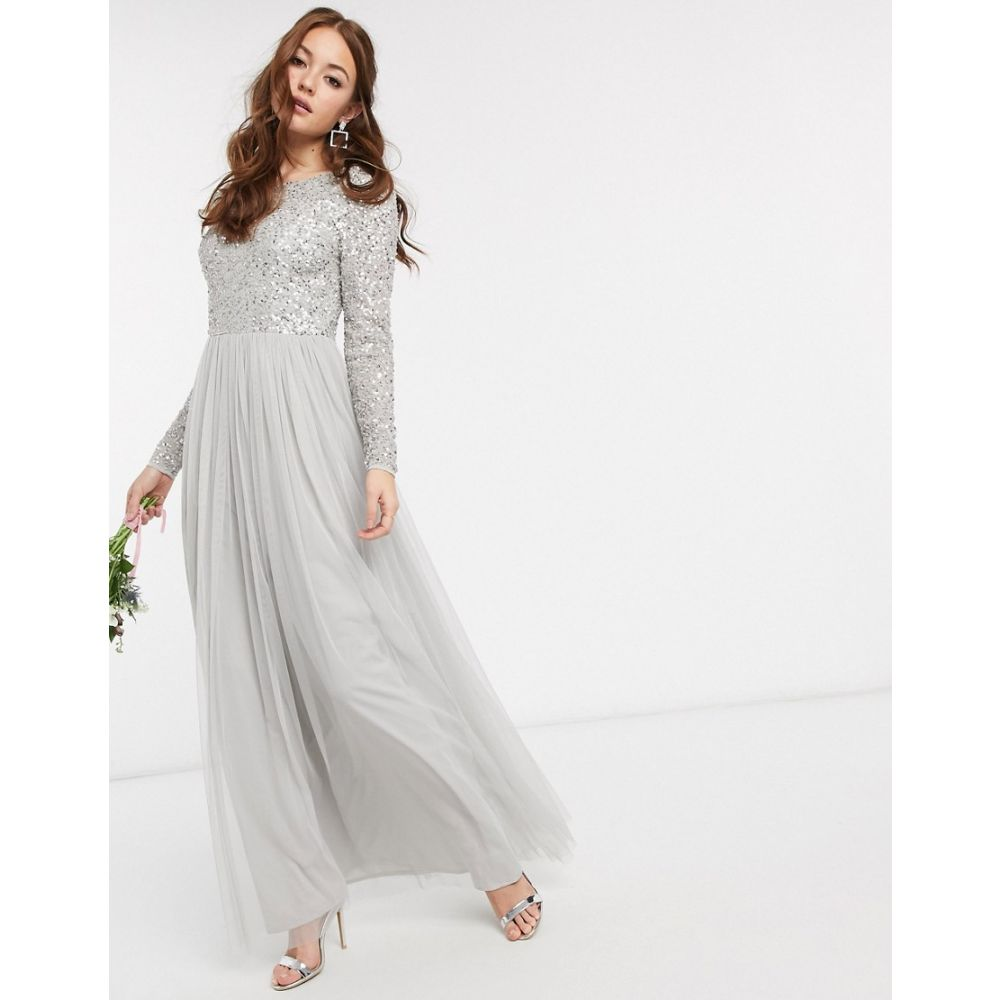 マヤ Maya レディース ワンピース マキシ丈 ワンピース・ドレス【Bridesmaid long sleeve v back maxi tulle dress with tonal delicate sequin in grey】Grey