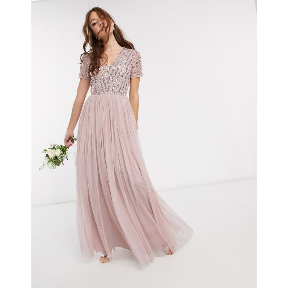 マヤ Maya レディース ワンピース Vネック マキシ丈 ワンピース・ドレス【Bridesmaid v neck maxi dress with tonal delicate sequin in pink】Blush pink