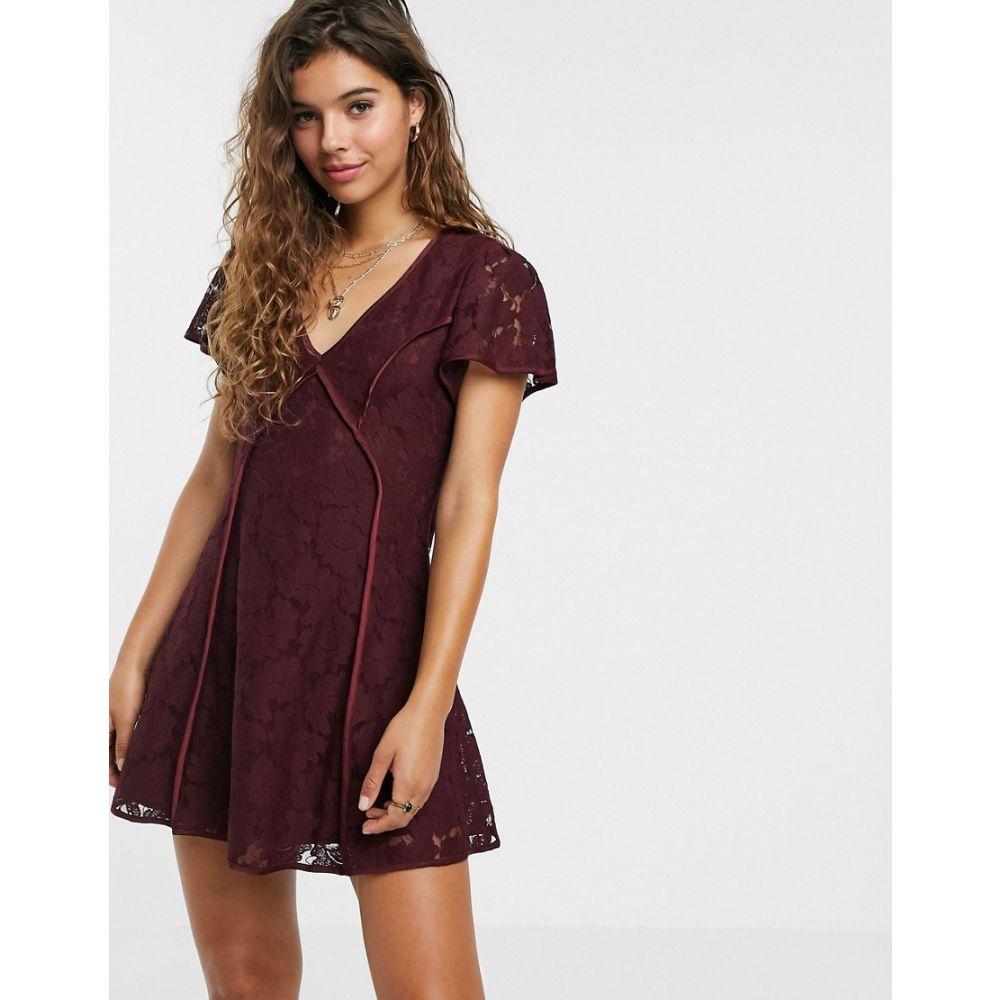 ムーンリバー Moon River レディース ワンピース ワンピース・ドレス【lace dress】Burgundy
