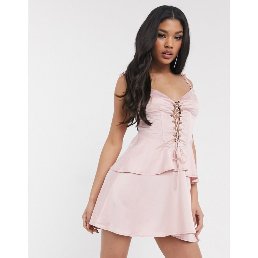 ミスガイデッド Missguided レディース ワンピース レースアップ ワンピース・ドレス【lace up front dress in pink】Pink