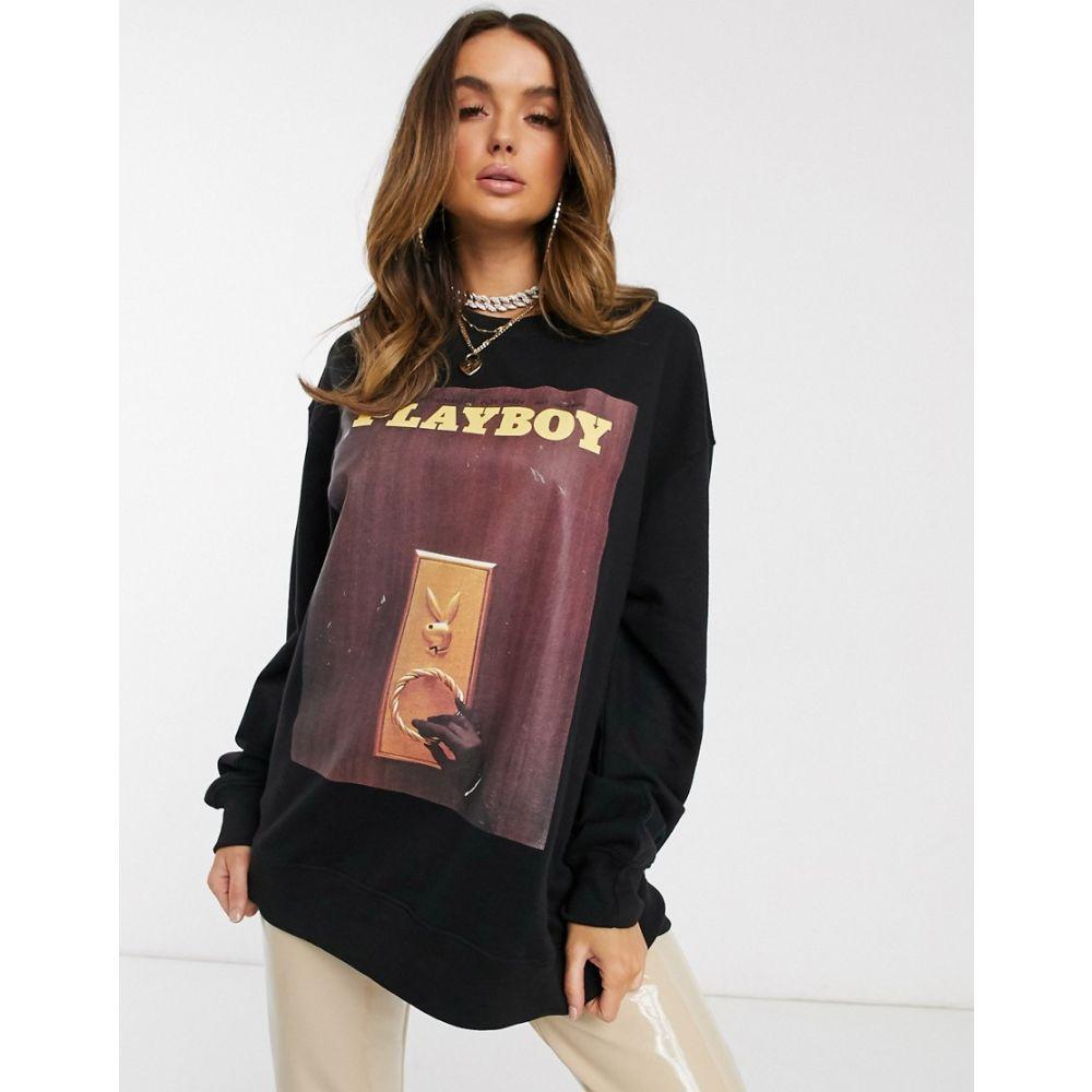 ミスガイデッド Missguided レディース スウェット・トレーナー トップス【Playboy magazine graphic sweatshirt in black】Black