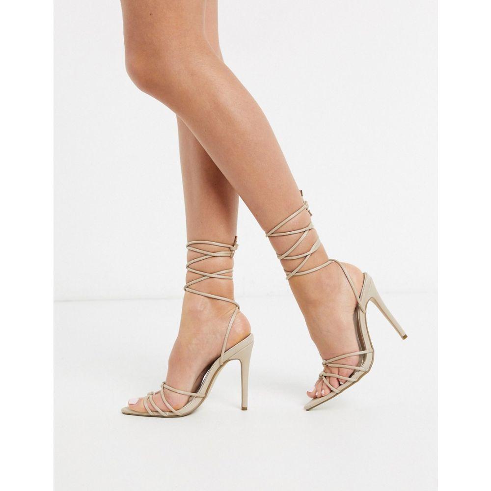 ミスガイデッド Missguided レディース サンダル・ミュール シューズ・靴【tie leg barely there heeled sandal in beige】Beige