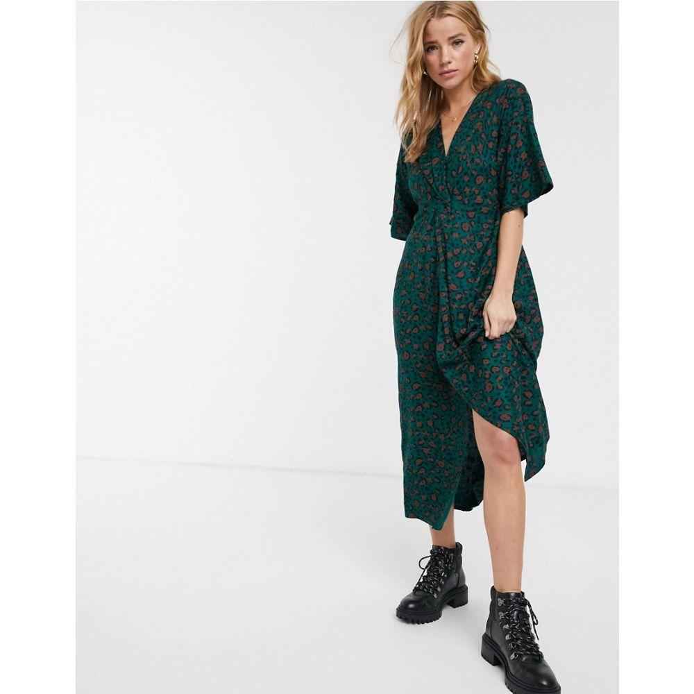 ブレンド シー Blend She レディース ワンピース ラップドレス マキシ丈 ワンピース・ドレス【wrap maxi dress in green】Printed
