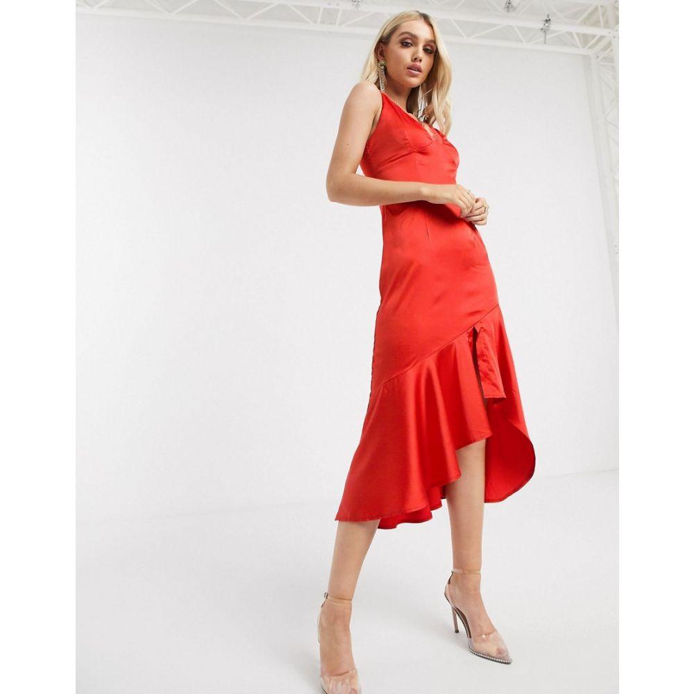 ミスガイデッド Missguided レディース ワンピース キャミワンピ ワンピース・ドレス【satin dip hem cami dress in red】Red