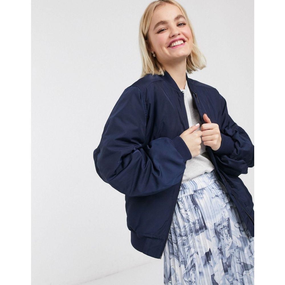 モンキー Monki レディース ブルゾン ミリタリージャケット アウター【nylon bomber jacket in navy】Blue