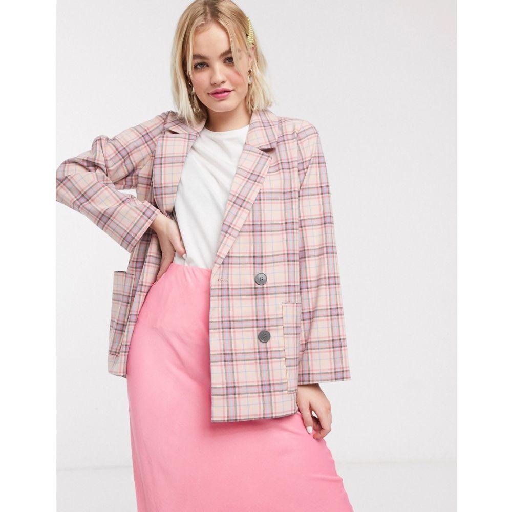 モンキー Monki レディース スーツ・ジャケット アウター【multi check double breasted blazer in pink】Pink