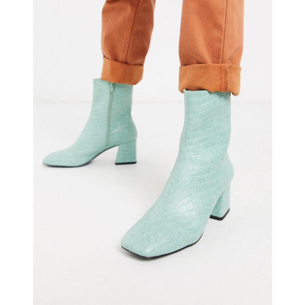 モンキー Monki レディース ブーツ ショートブーツ シューズ・靴【croc print ankle boots with block heel in mint green】Mint green