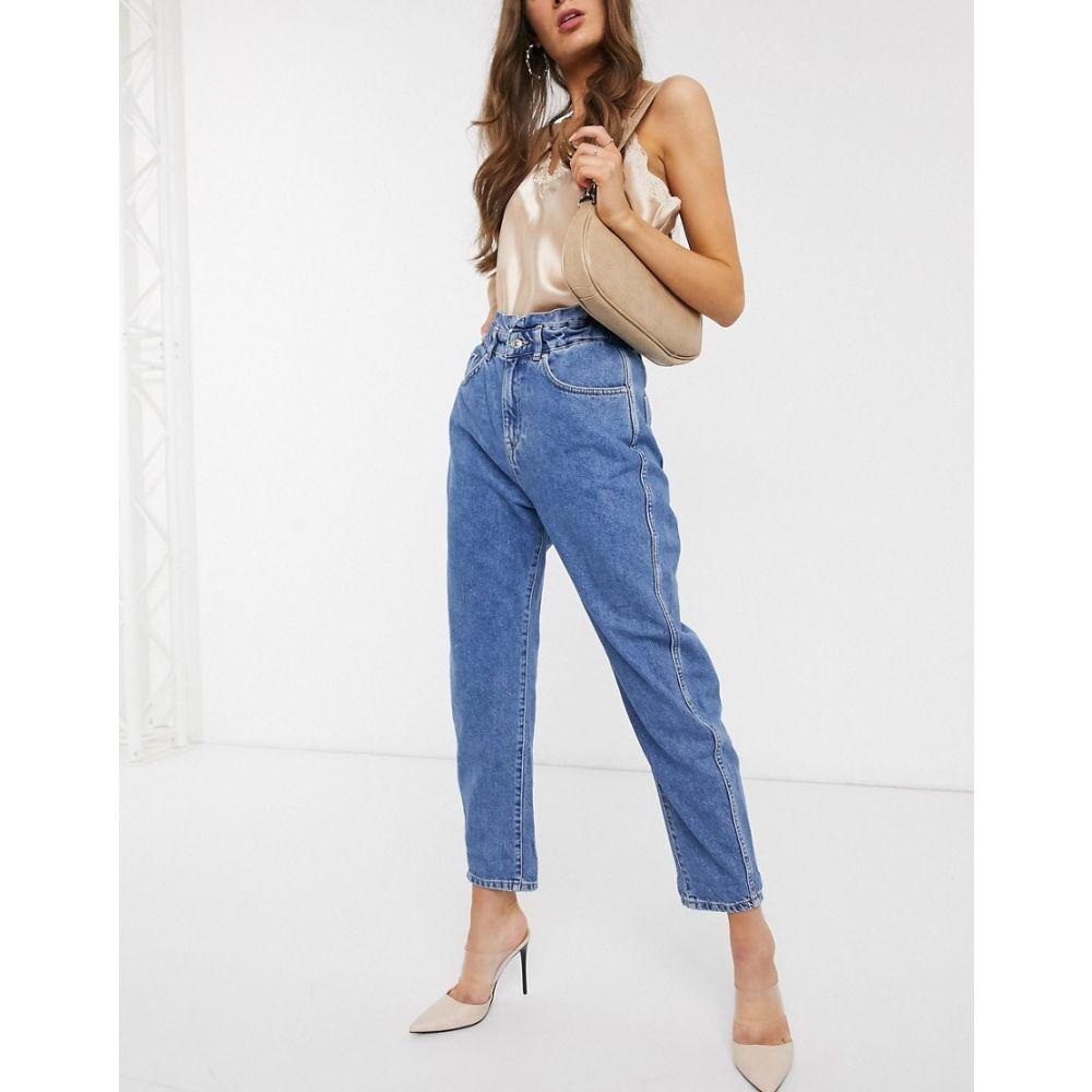 マンゴ Mango レディース ジーンズ・デニム ボトムス・パンツ【slouch jeans with elasticated waist in mid blue】Blue