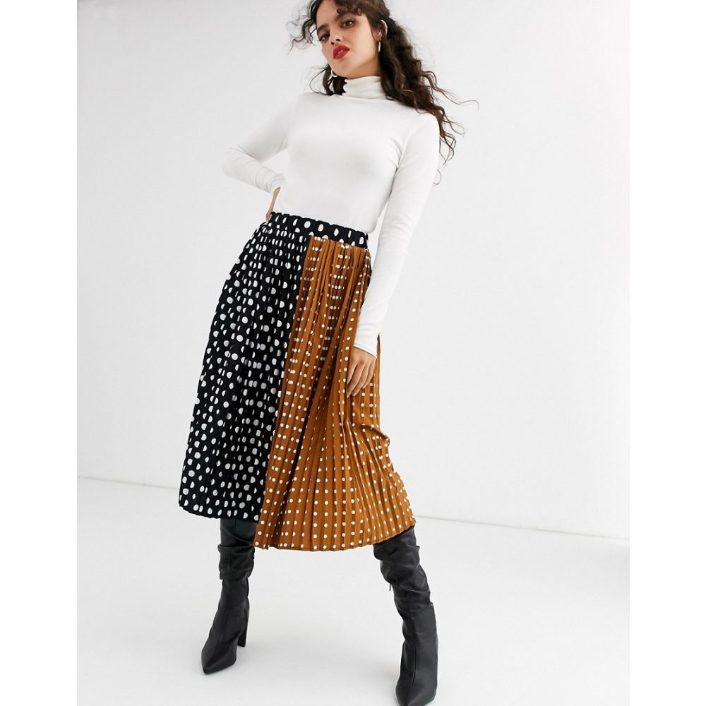 ユニーク21 UNIQUE21 レディース スカート 【Unique21 contrast polka dot pleated skirt】Black/brown