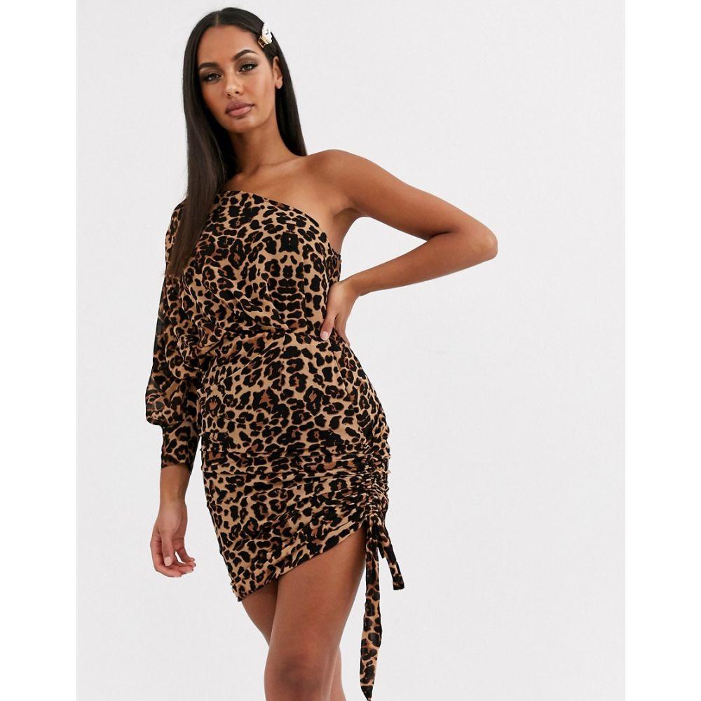 ラブアンドアザーシングス Love & Other Things レディース ワンピース ワンピース・ドレス【one shoulder dress in brown leopard】Brown leopard