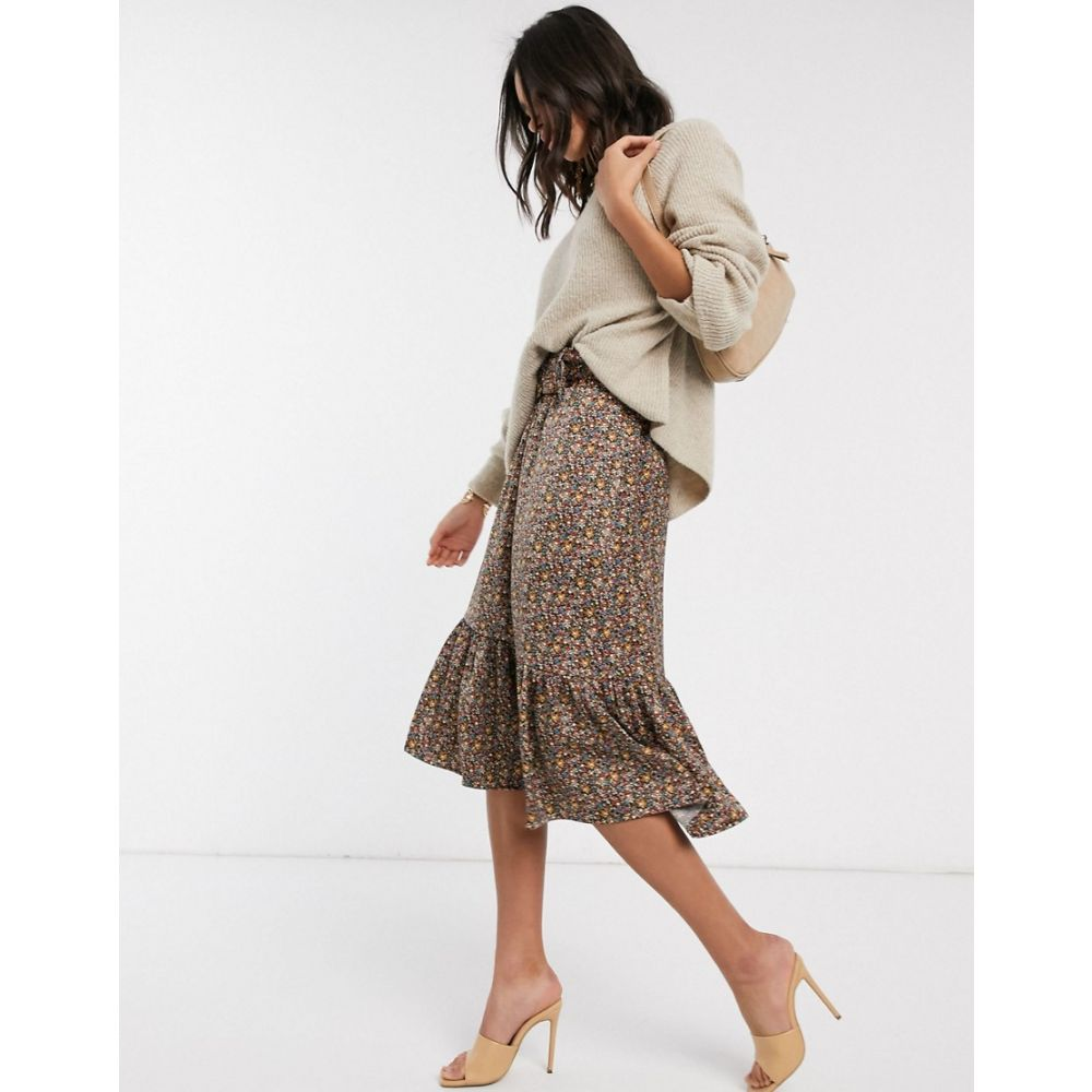 ワイ エー エス Y.A.S レディース ひざ丈スカート スカート【belted midi skirt with peplum hem in brown floral】Multi
