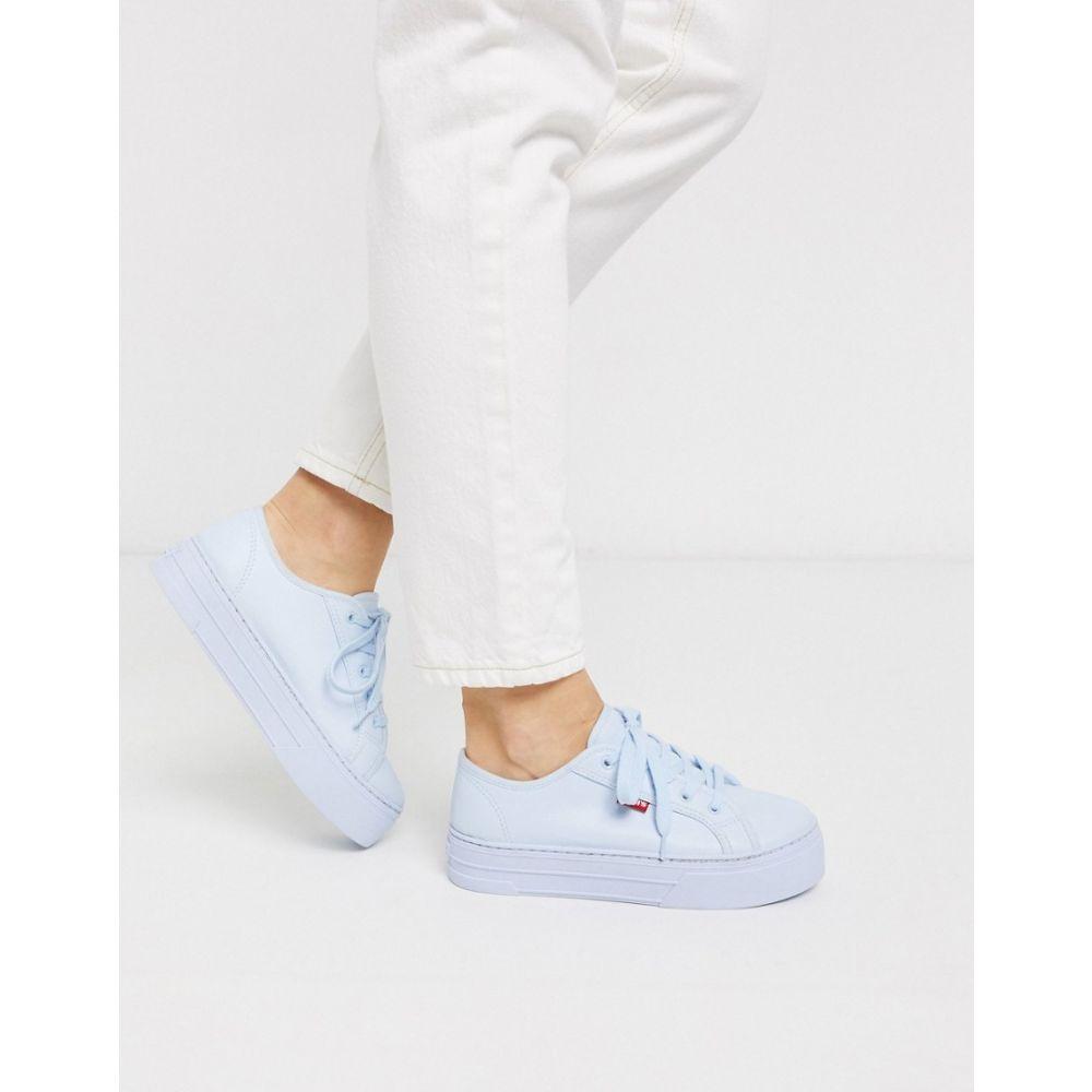 リーバイス Levi's レディース スニーカー シューズ・靴【flatform trainers with borg interior】Pale blue