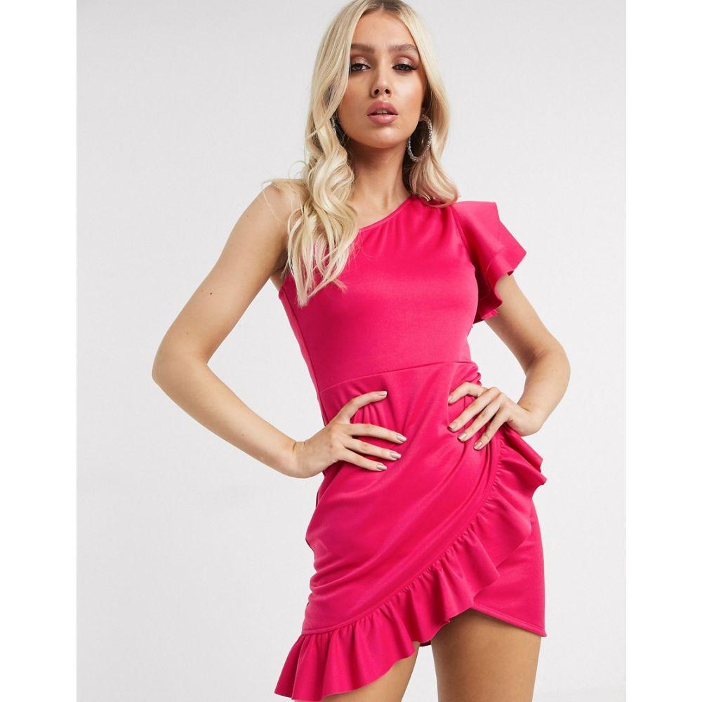 レースドインラブ Laced In Love レディース ワンピース ワンピース・ドレス【Laced in Love one shoulder ruffle mini dress in hot pink】Hot pink