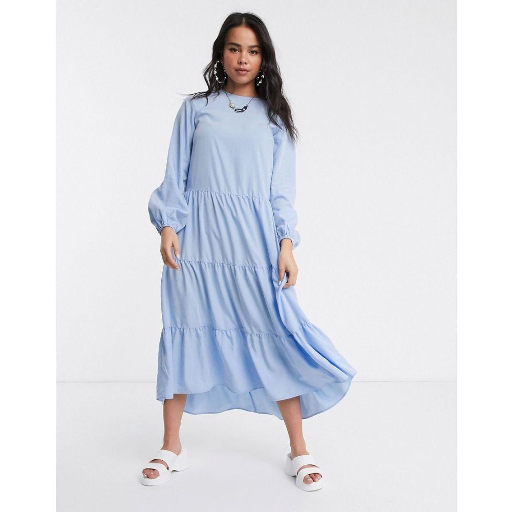 モンキー Monki レディース ワンピース ティアードドレス ワンピース・ドレス【long sleeve tiered midi dress in light blue】Blue