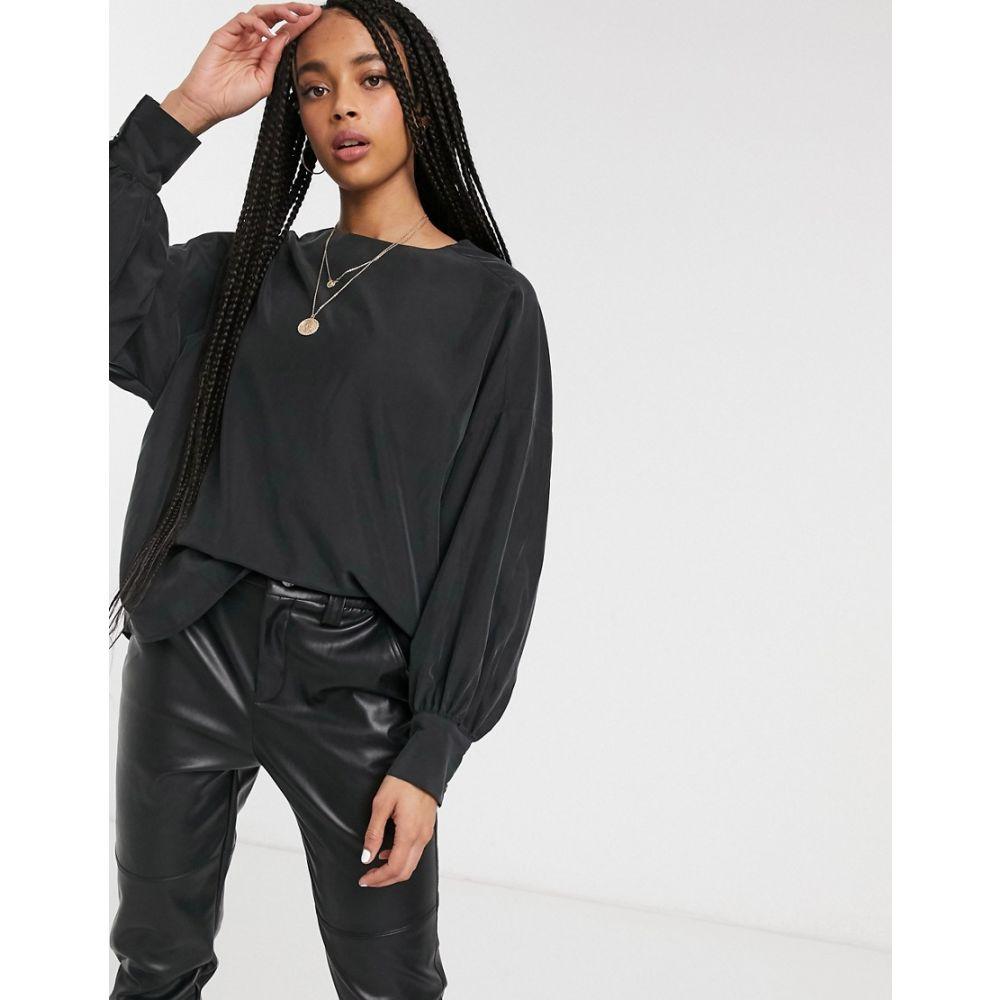 モンキー Monki レディース ブラウス・シャツ トップス【oversized sleeve blouse in black】Black