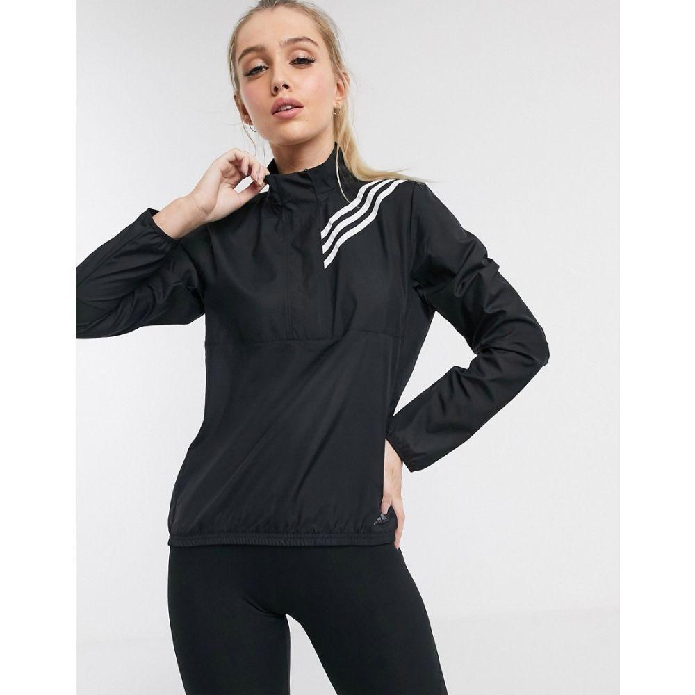 アディダス adidas performance レディース ランニング・ウォーキング アウター【adidas Running 3 stripe zip thru jacket in black】Black