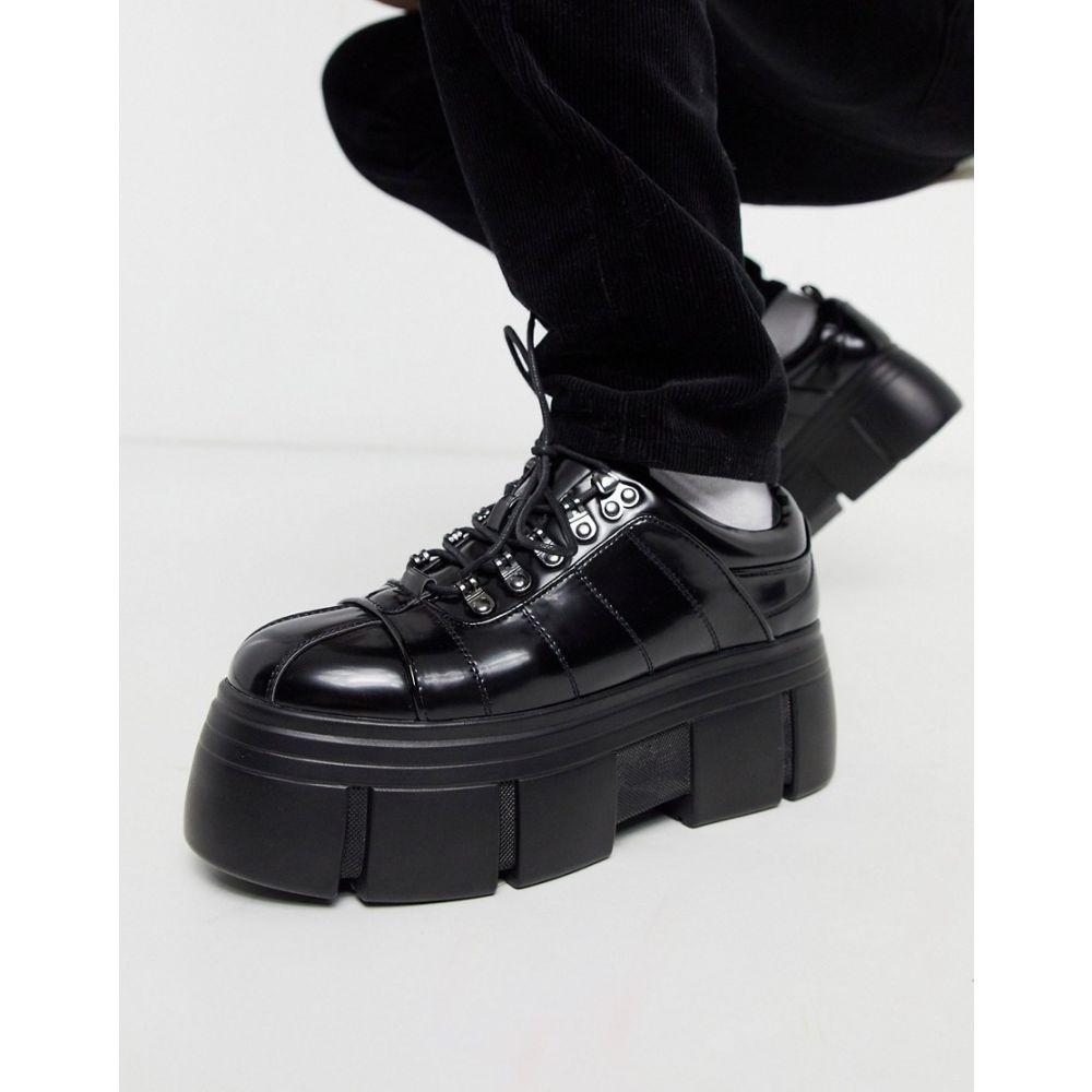 エイソス ASOS DESIGN メンズ シューズ・靴 【lace up shoes in black faux leather with chunky platform sole】Black