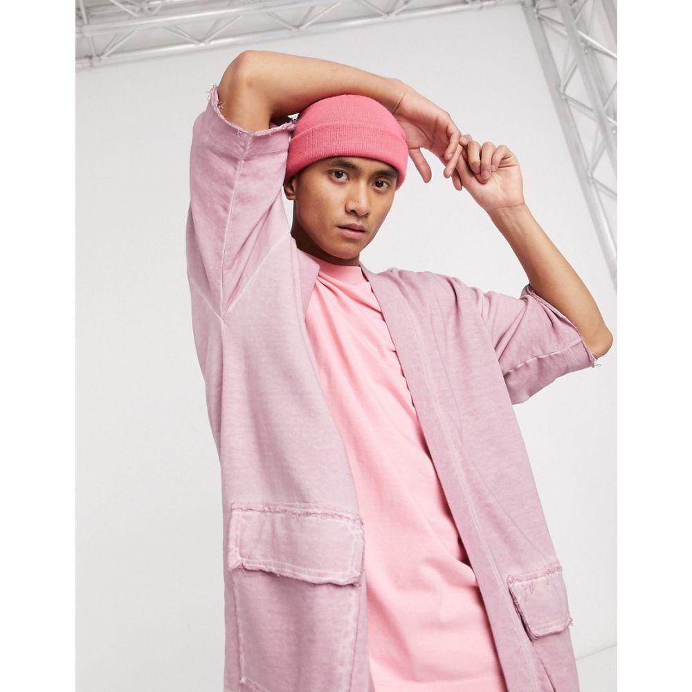 エイソス ASOS DESIGN メンズ カーディガン トップス【co-ord kimono cardigan with utlity details in washed dusty purple】Crushed berry