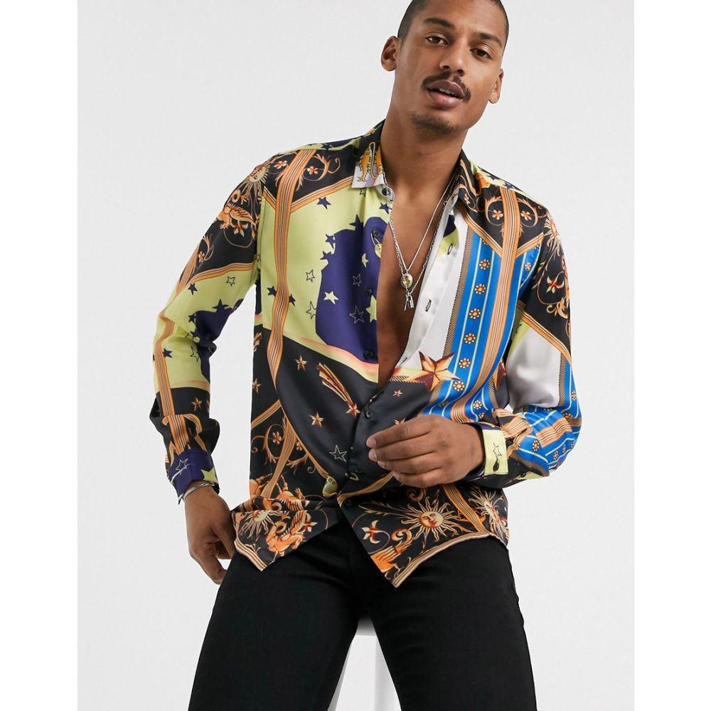 エイソス ASOS DESIGN メンズ シャツ トップス【regular fit shirt in random cosmic star print】Blue