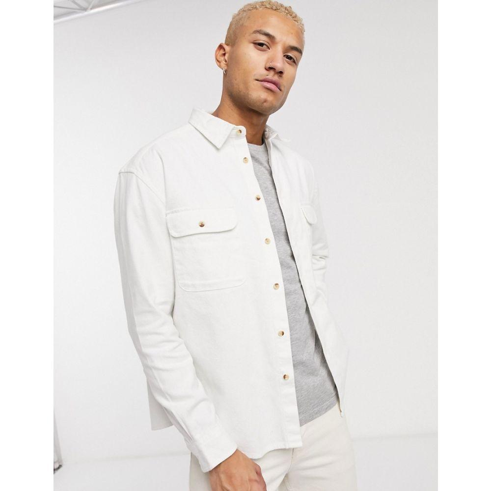 エイソス ASOS DESIGN メンズ シャツ デニム トップス【oversized ecru denim shirt with double pockets in off white】White