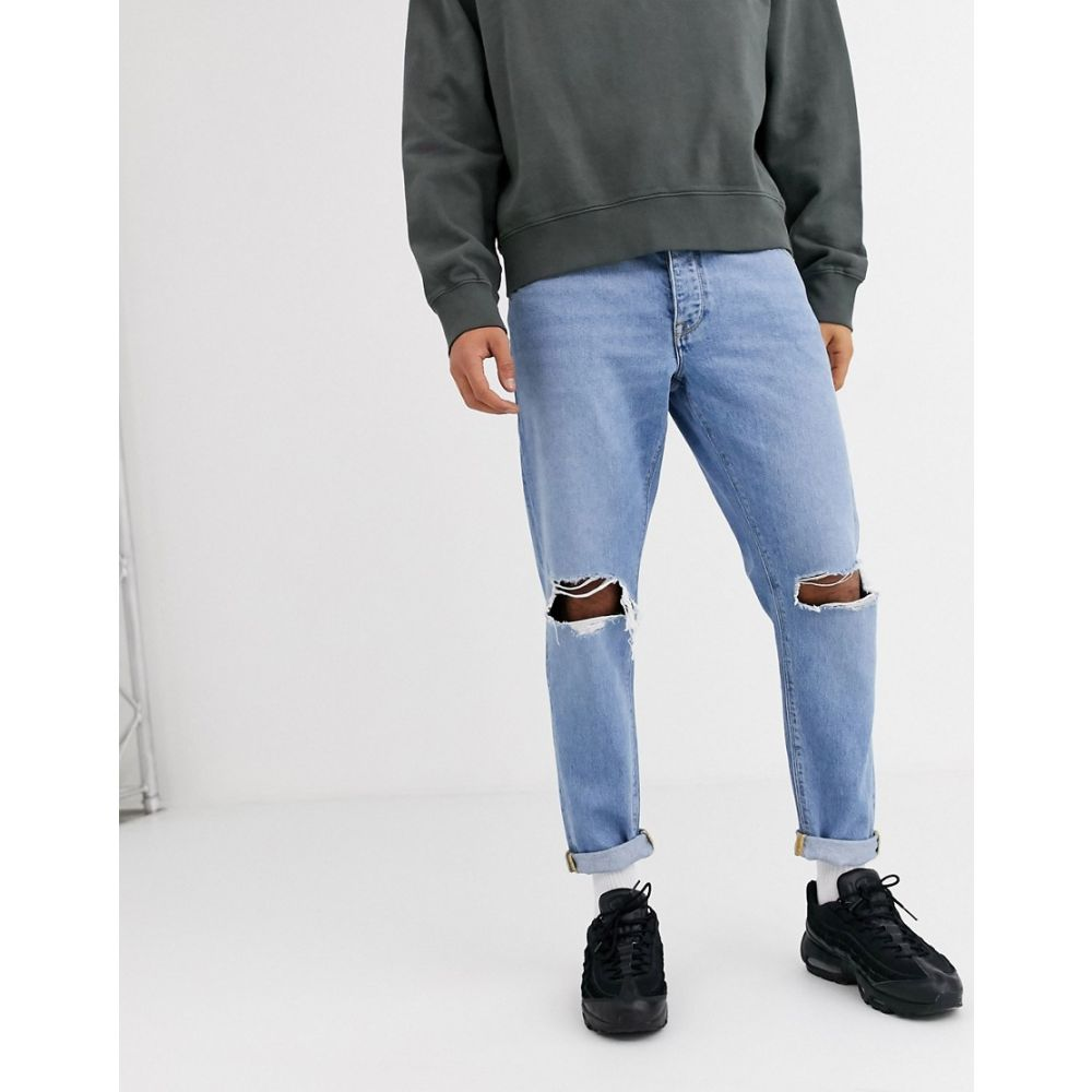 エイソス ASOS DESIGN メンズ ジーンズ・デニム ボトムス・パンツ【tapered jeans in light wash with busted knees】Light wash blue