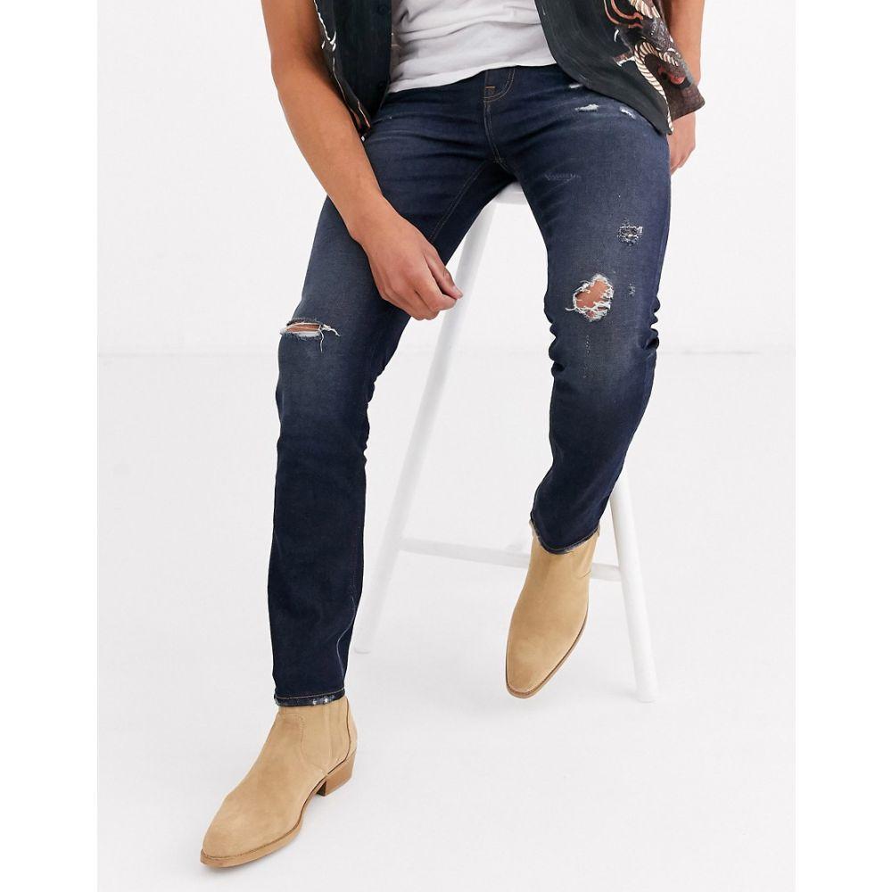 エイソス ASOS DESIGN メンズ ジーンズ・デニム ボトムス・パンツ【skinny jeans 'honestly worn' in vintage dark wash with abrasions】Dark wash vintage