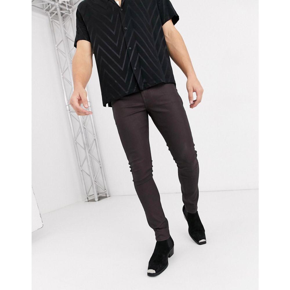 エイソス ASOS DESIGN メンズ ジーンズ・デニム ボトムス・パンツ【super skinny coated leather look jeans in brown】Brown