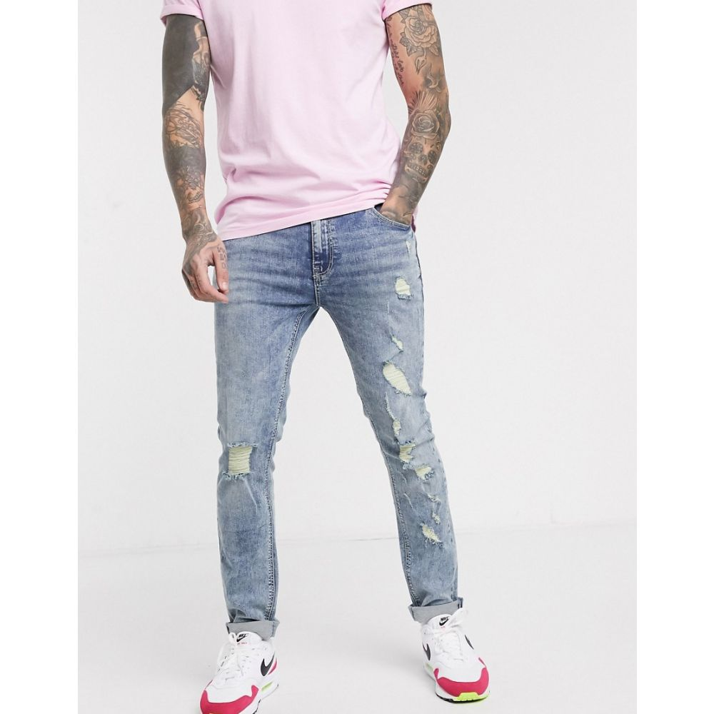 エイソス ASOS DESIGN メンズ ジーンズ・デニム ボトムス・パンツ【skinny jeans with marble wash and heavy rips】Mid wash blue