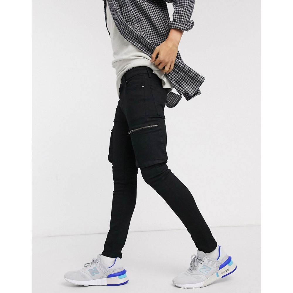 エイソス ASOS DESIGN メンズ ジーンズ・デニム ボトムス・パンツ【spray on jeans in power stretch with cargo pockets in black】Black