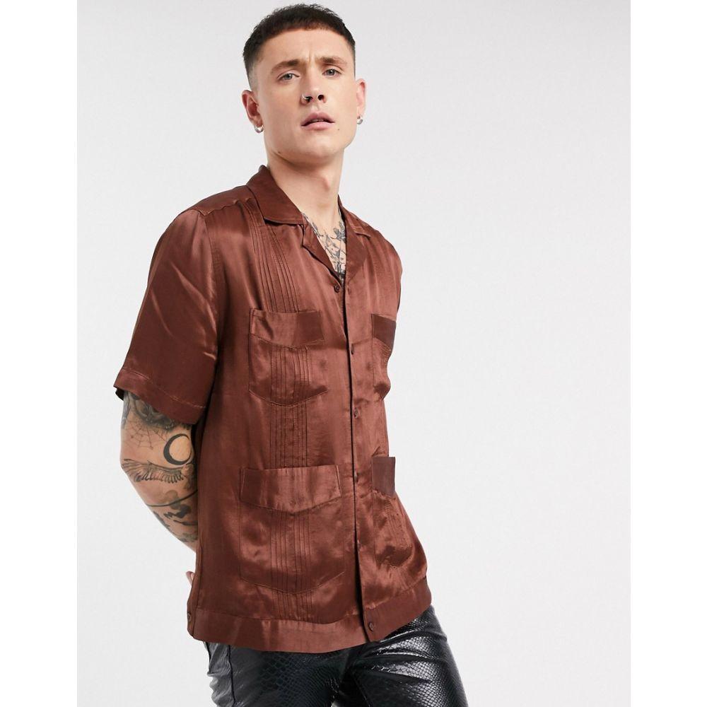 エイソス ASOS EDITION メンズ 半袖シャツ トップス【satin multi pocket short sleeve shirt with pleat detail】Brown