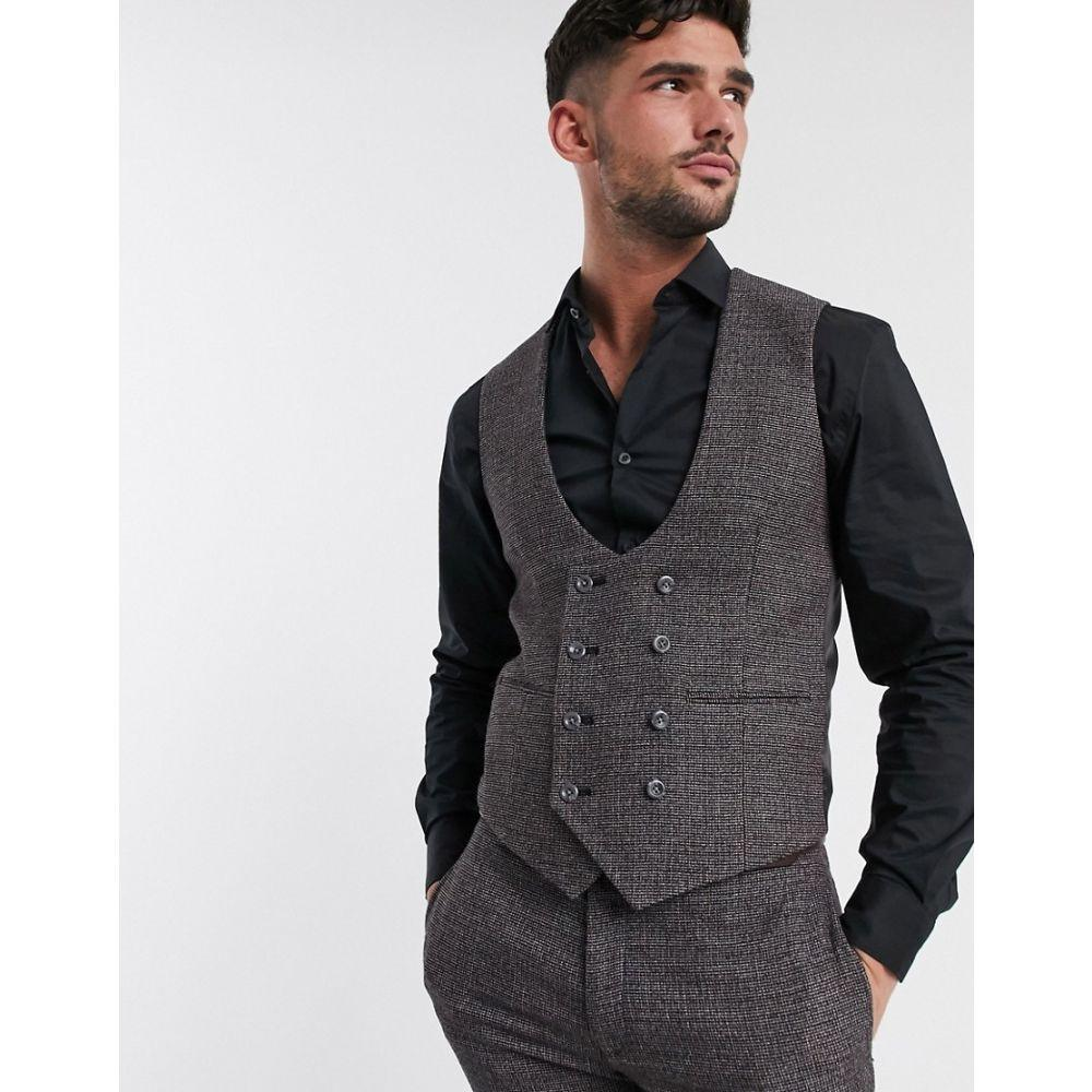 エイソス ASOS DESIGN メンズ ベスト・ジレ トップス【wedding super skinny suit waistcoat in in charcoal tweed texture】Grey