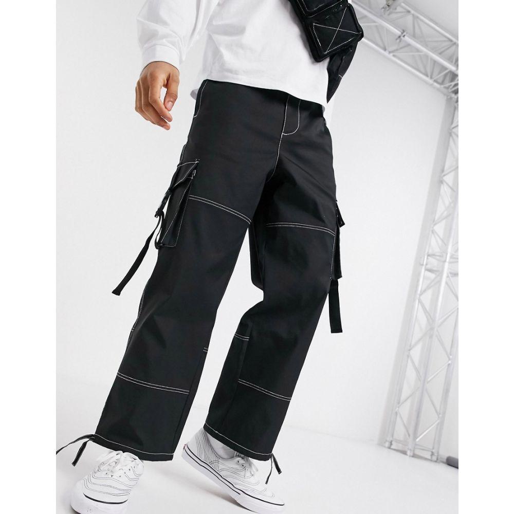 エイソス ASOS DESIGN メンズ カーゴパンツ ワイドパンツ ボトムス・パンツ【wide leg cargo trousers in black with contrast stitch】Black