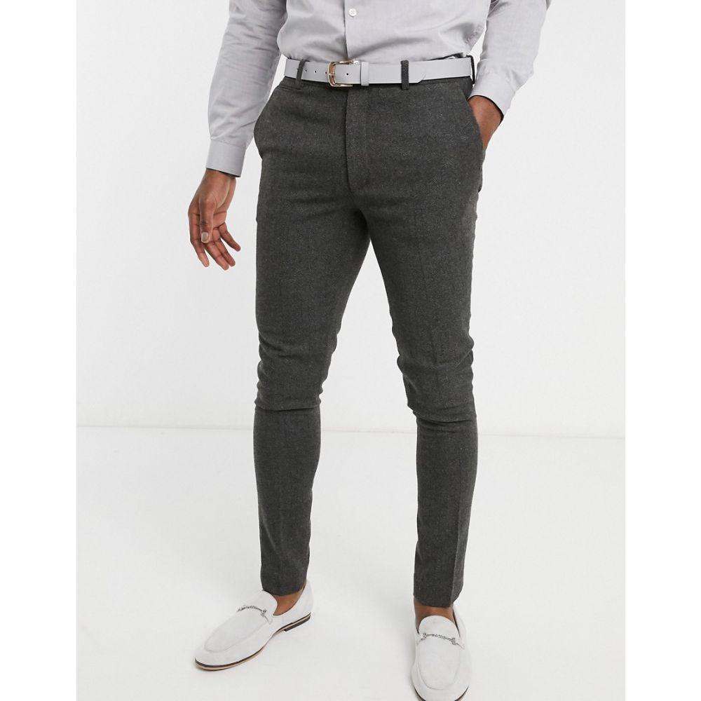 エイソス ASOS DESIGN メンズ スラックス ボトムス・パンツ【wedding super skinny suit trousers in wool mix herringbone in charcoal】Charcoal