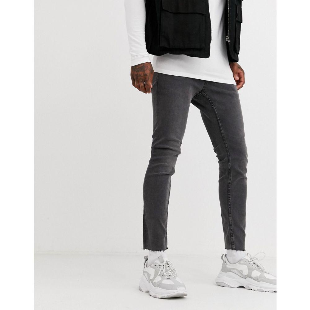 オンリーアンドサンズ Only & Sons メンズ ジーンズ・デニム ボトムス・パンツ【skinny fit cropped raw edge jeans in grey wash】Black denim