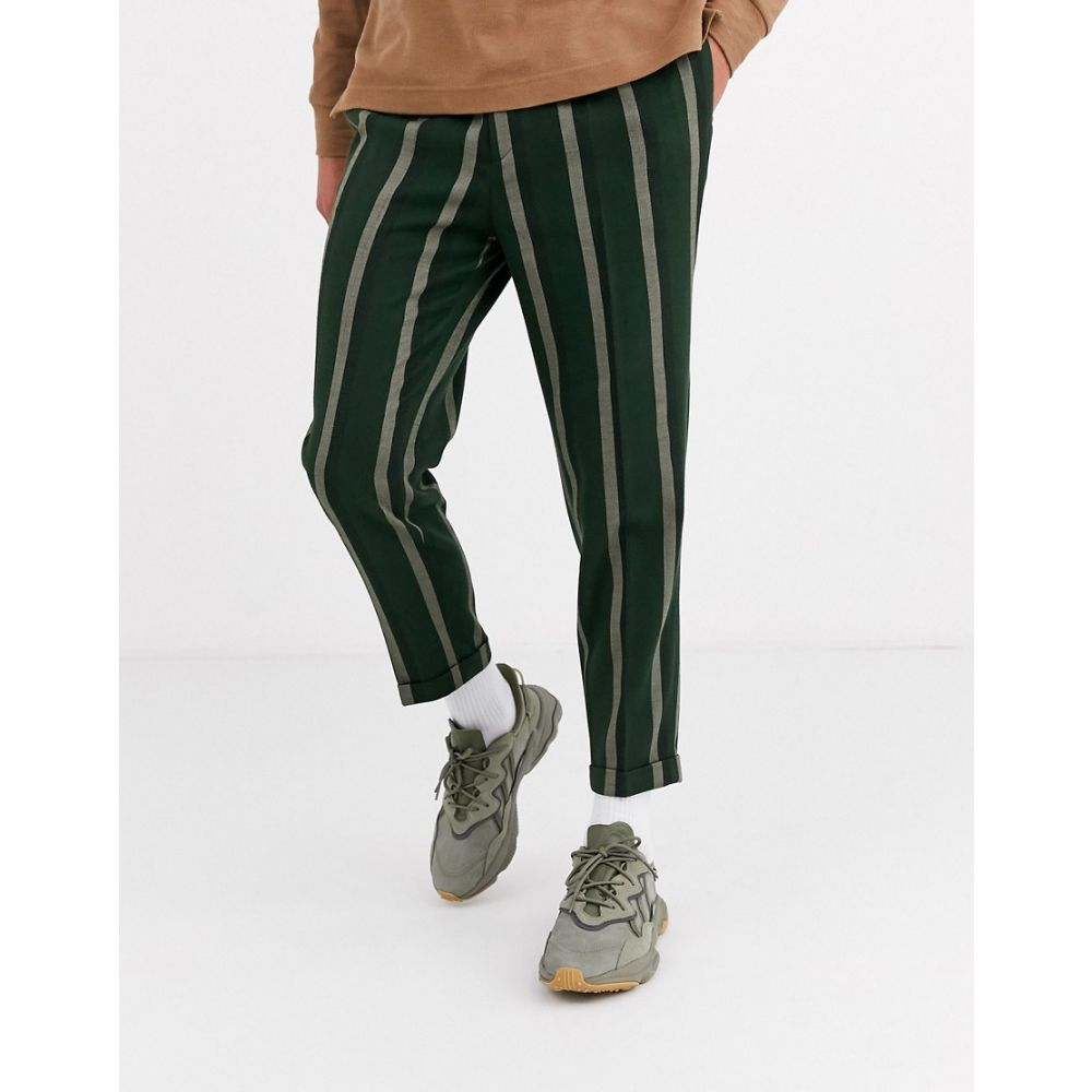 エイソス ASOS DESIGN メンズ ボトムス・パンツ 【smart tapered trousers in green stripe】Green