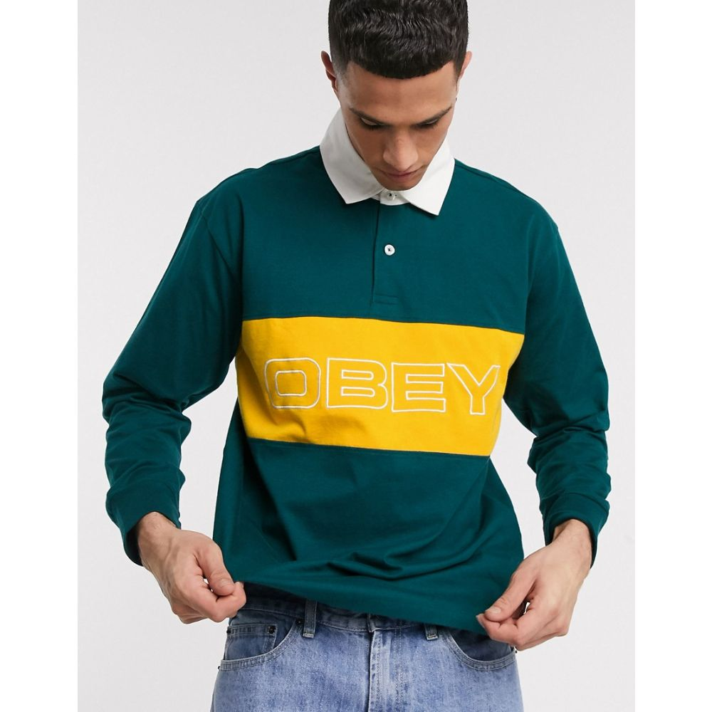 オベイ Obey メンズ ポロシャツ トップス【Ignite Classic long sleeve polo in green】Deep teal multi