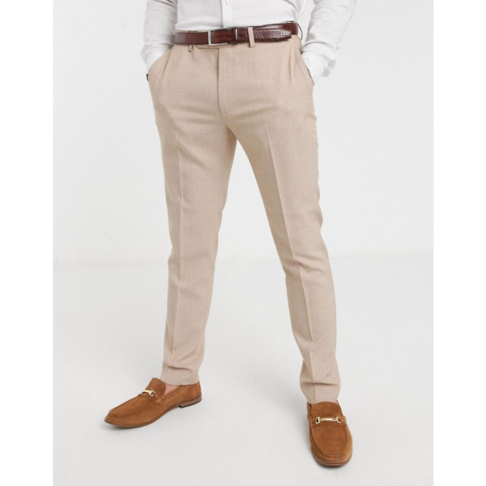 エイソス ASOS DESIGN メンズ スキニー・スリム ボトムス・パンツ【wedding skinny suit trousers in crosshatch in camel】Camel