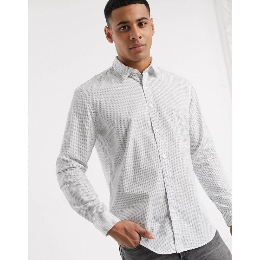 エスプリ Esprit メンズ シャツ トップス【shirt in long sleeve with ditsy print】White