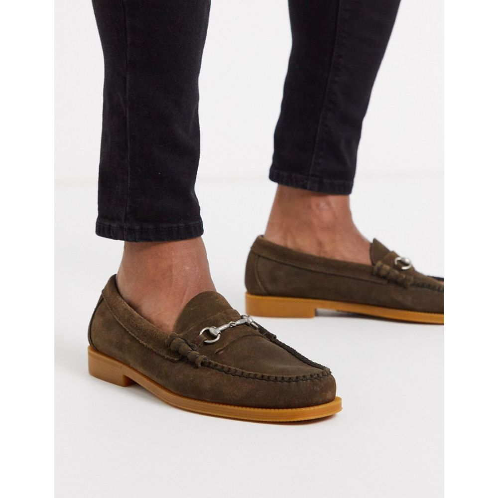 ジーエイチ バス G.H. Bass メンズ ローファー シューズ・靴【GH Bass easy weejun lincoln bar loafers in brown suede】Brown