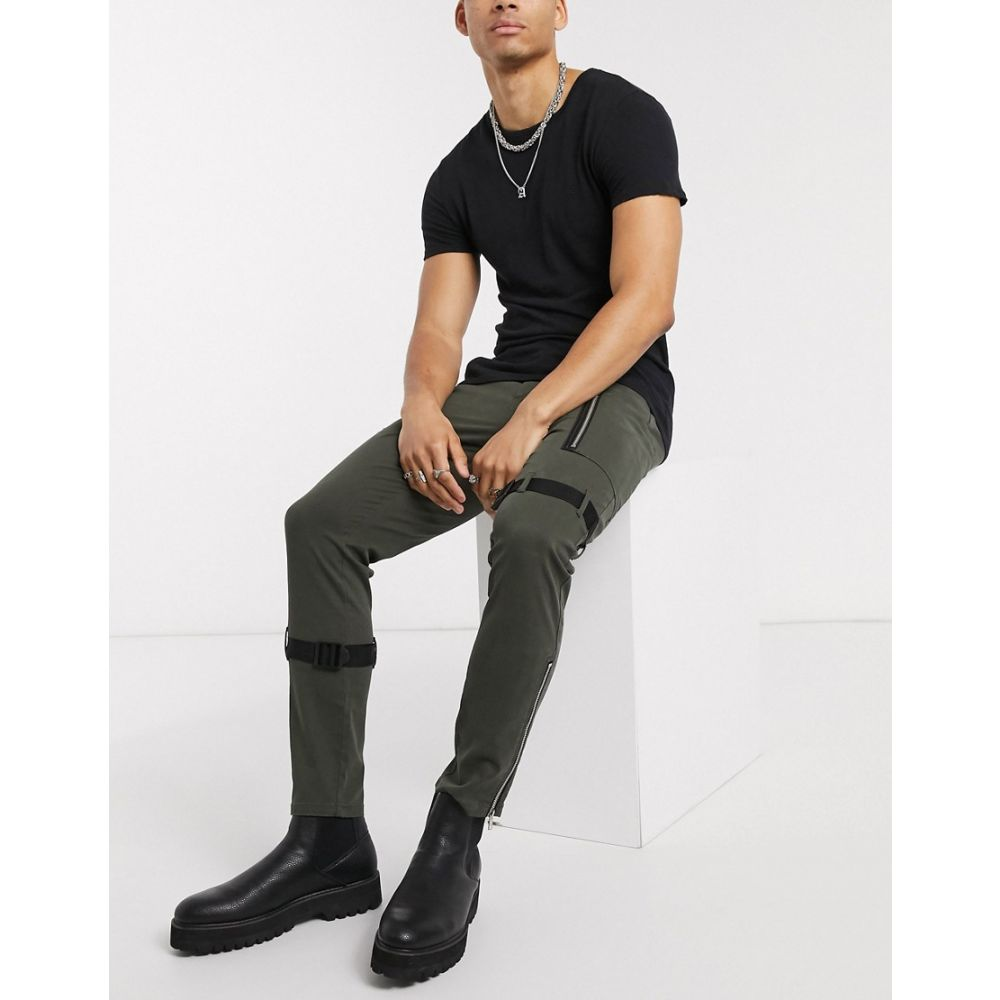 エイソス ASOS DESIGN メンズ スキニー・スリム ボトムス・パンツ【skinny trousers with zip & strapping detail】Green