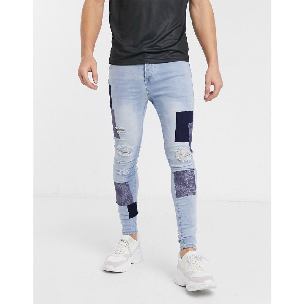グッドフォーナッシング Good For Nothing メンズ ジーンズ・デニム ボトムス・パンツ【skinny jeans in light blue with bandana patches】Blue