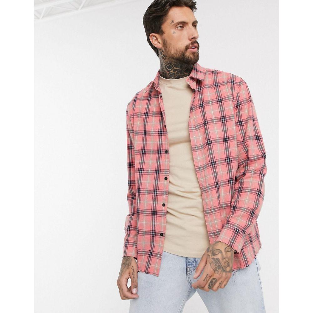 グッドフォーナッシング Good For Nothing メンズ シャツ トップス【oversized check shirt in pink with distressed hem】Pink