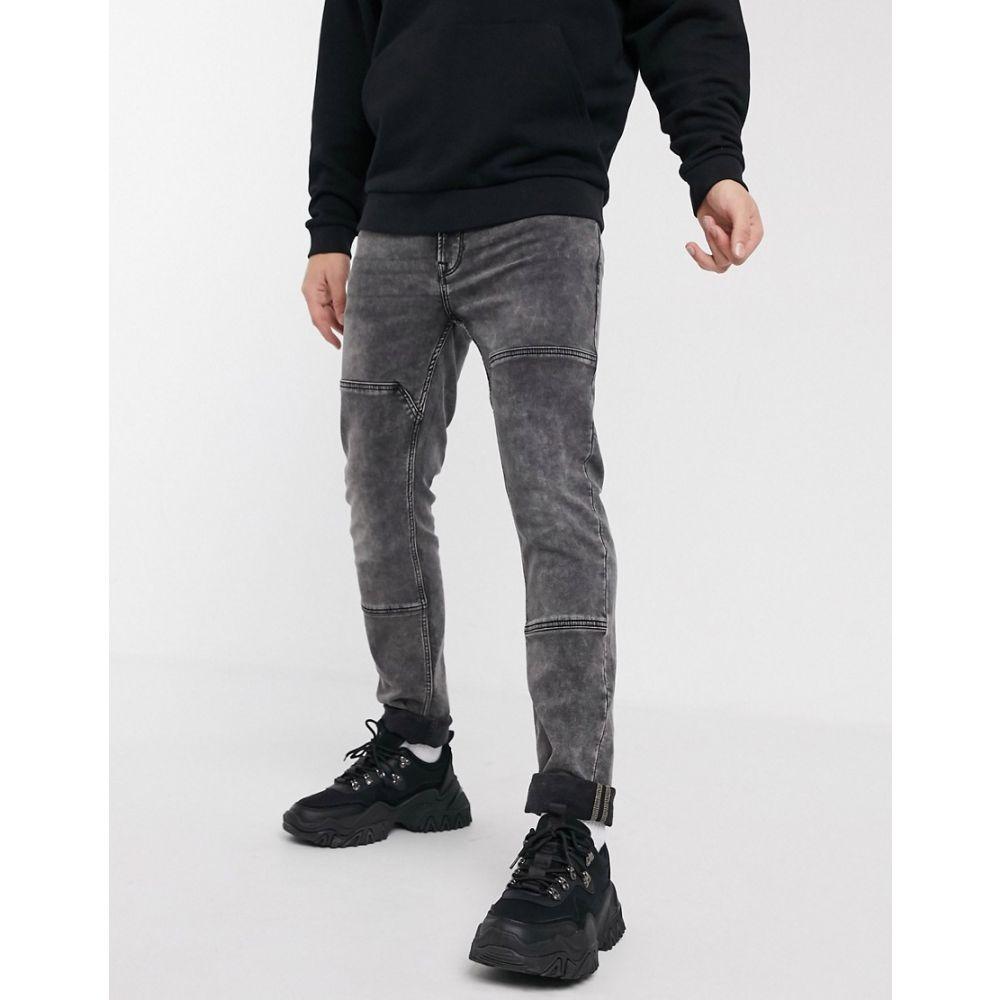 オンリーアンドサンズ Only & Sons メンズ ジーンズ・デニム ボトムス・パンツ【slim fit biker abrasion jeans in washed grey】Grey denim