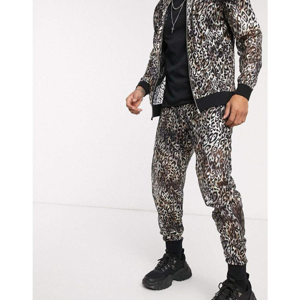 エイソス ASOS DESIGN メンズ ジョガーパンツ ボトムス・パンツ【co-ord slim joggers in sheer metallic leopard print】Silver