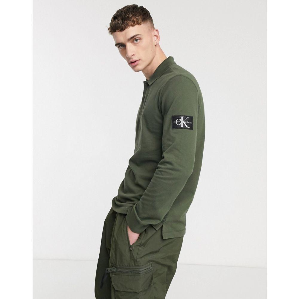 カルバンクライン Calvin Klein Jeans メンズ ポロシャツ トップス【monogram badge regular fit polo in khaki】Deep depths