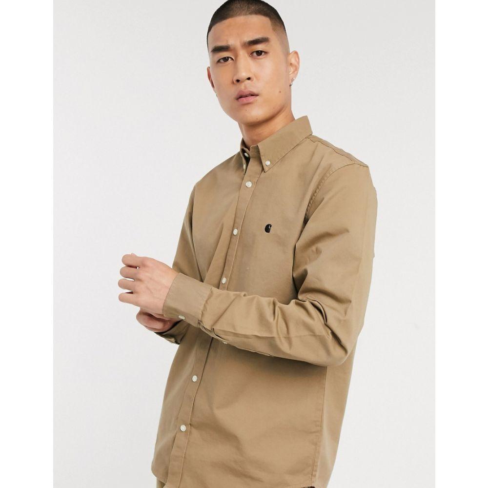 カーハート Carhartt WIP メンズ シャツ トップス【long sleeve Madison shirt in beige】Leather/dark navy