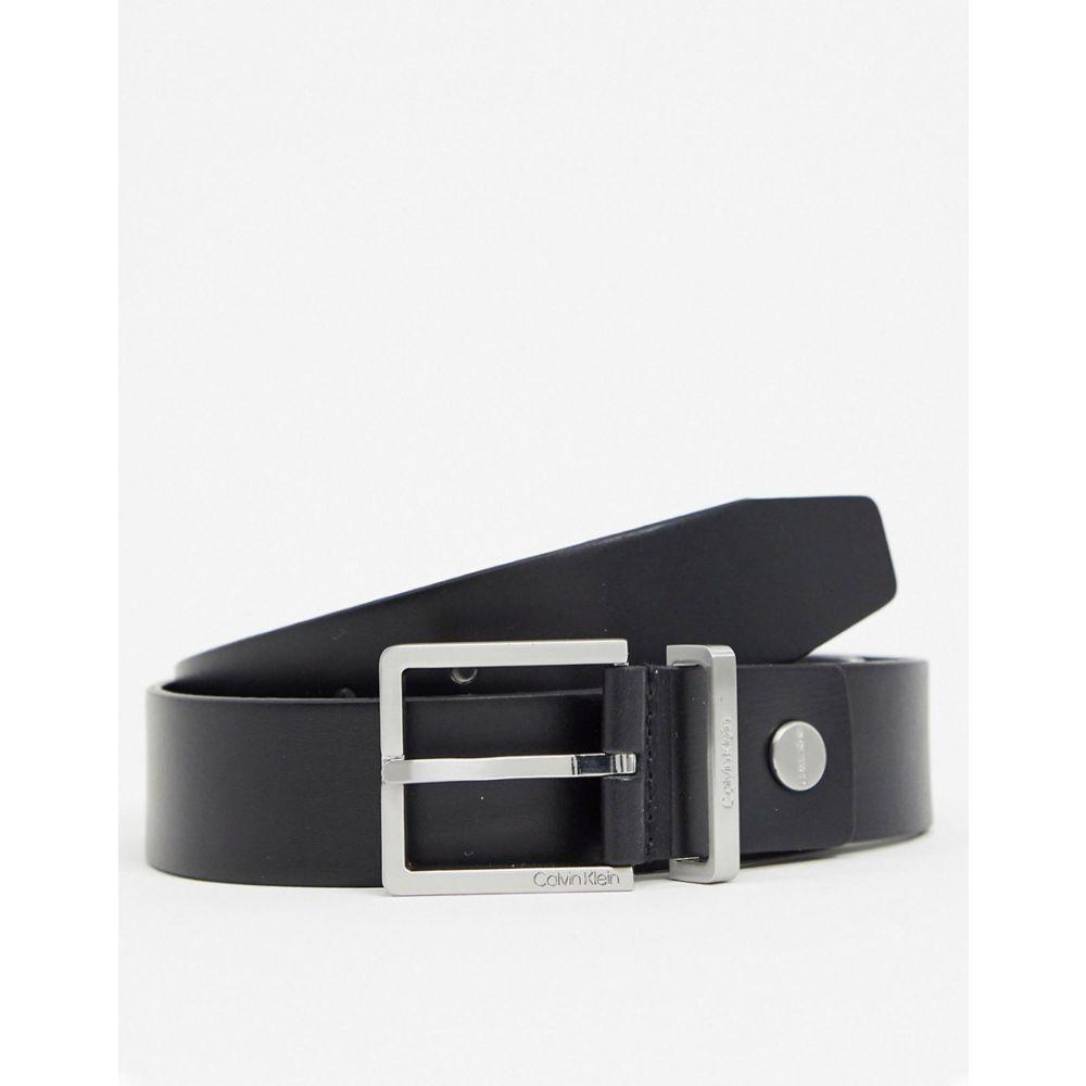 カルバンクライン Calvin Klein メンズ ベルト 【leather buckle belt in black】Black