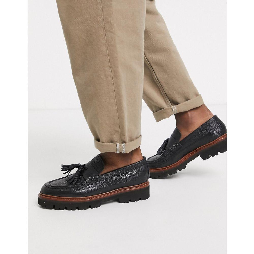 グレンソン Grenson メンズ ローファー シューズ・靴【booker loafers in black grain leather】Black