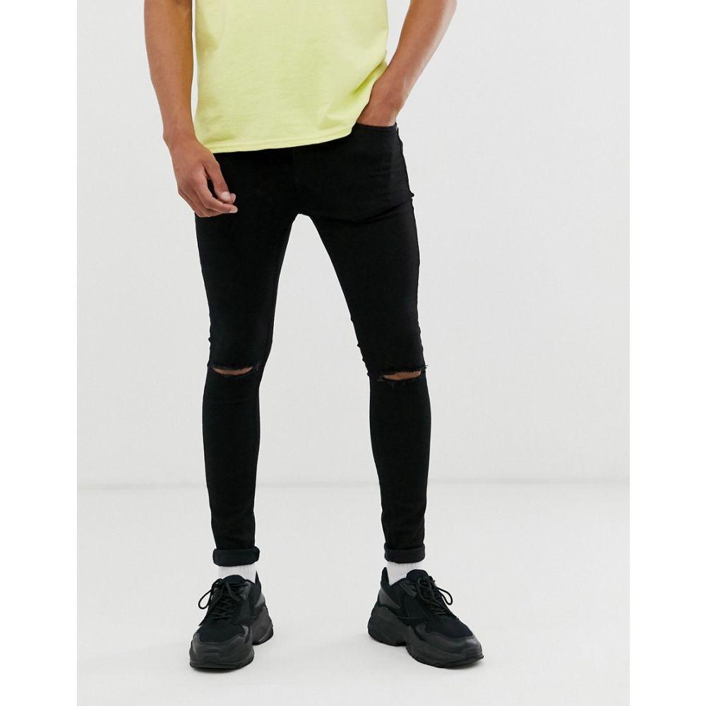 トップマン Topman メンズ ジーンズ・デニム ボトムス・パンツ【spray on jeans with rip in black】Black